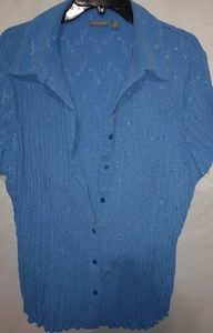 Apt.9 Lapis Eyelet Button Down Stretch Top Sz 2X